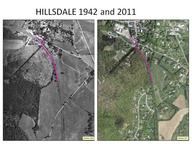Comparison of a historical and current aerial photo of Hillsdale.