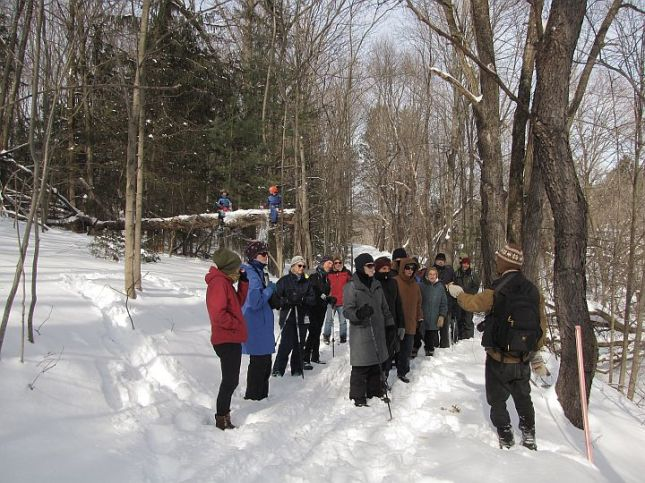 Participants in the Winter Exploration on the first section of the Rail Trail in Hillsdale