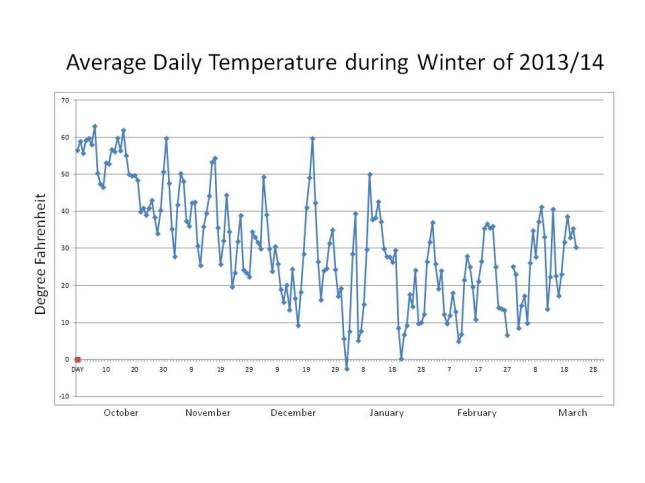 Average daily temperatures fluctuate enormously throughout the winter.
