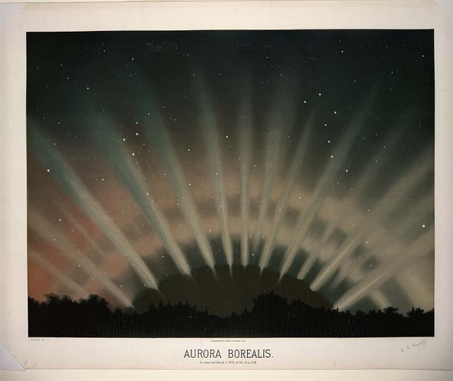 "This image of the Aurora was created by Étienne Léopold Trouvelot, a Frenchman who worked in Boston from about 1852 to 1882. The subtitle states ""As observed March 1, 1872, at 9h. 25m. P.M."", presumably from near Boston. An accomplished astronomical artist, Trouvet is best known today as the man who introduced Gypsy Moth into Massachusetts. Reportedly, he alerted others to the potential problem, but none took him seriously."